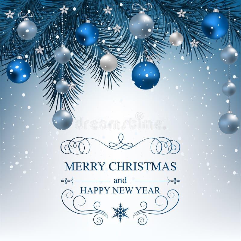Fondo de la Navidad con las ramas del abeto stock de ilustración