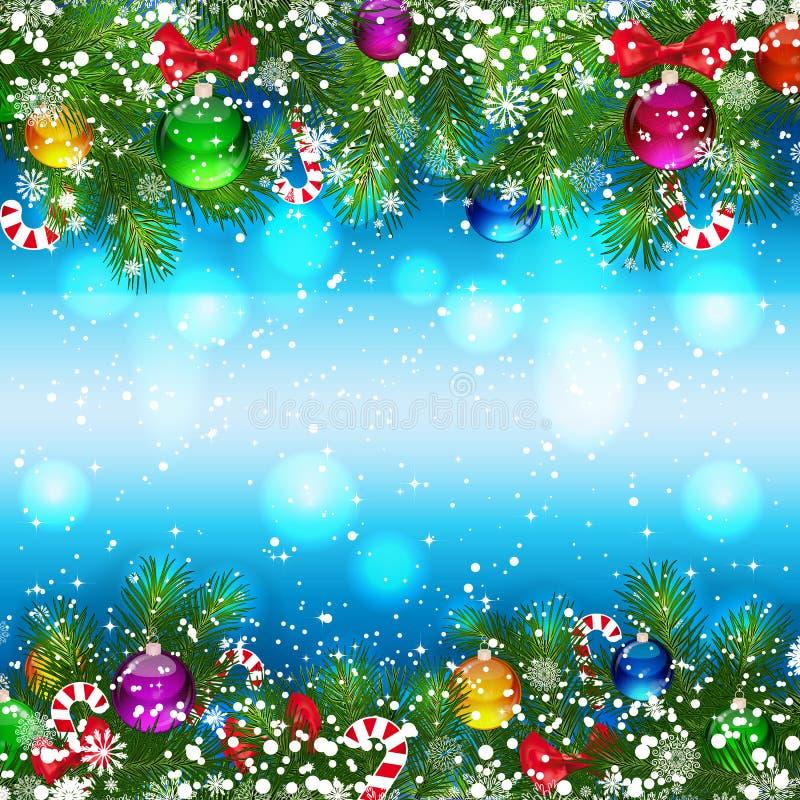 Fondo de la Navidad con las ramificaciones adornadas del árbol de navidad ilustración del vector
