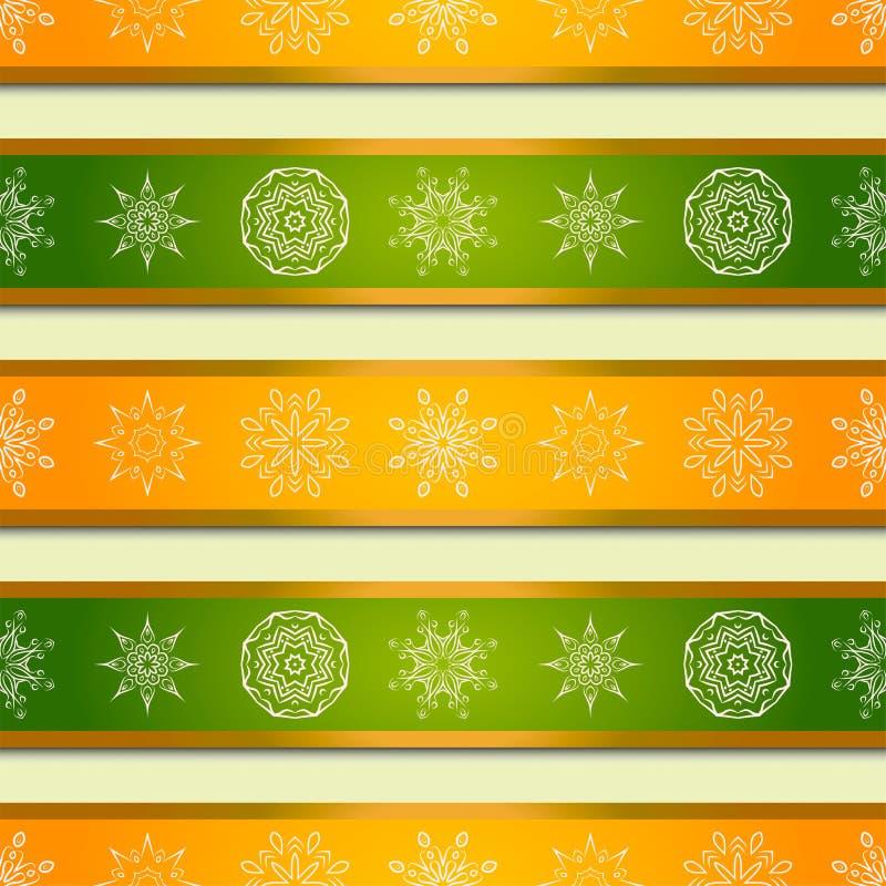Fondo de la Navidad con las rayas y los copos de nieve brillantes de las mandalas Fondo del vector ilustración del vector