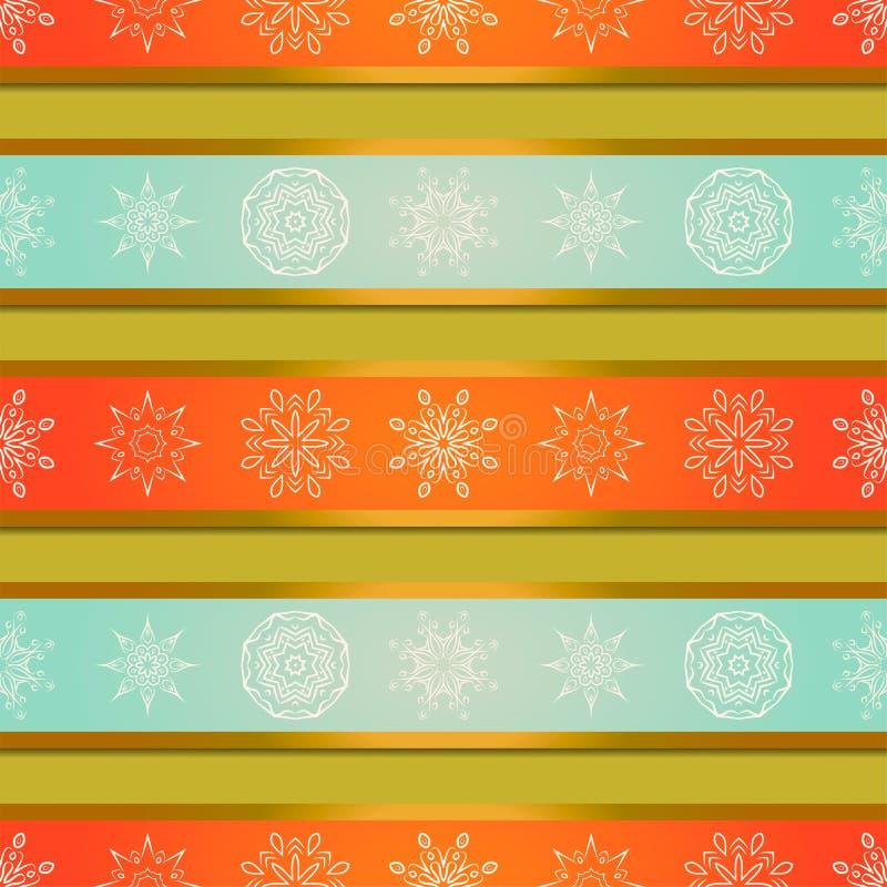Fondo de la Navidad con las rayas y los copos de nieve brillantes de las mandalas Fondo del vector stock de ilustración