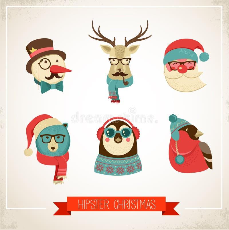 Fondo de la Navidad con los animales del inconformista libre illustration