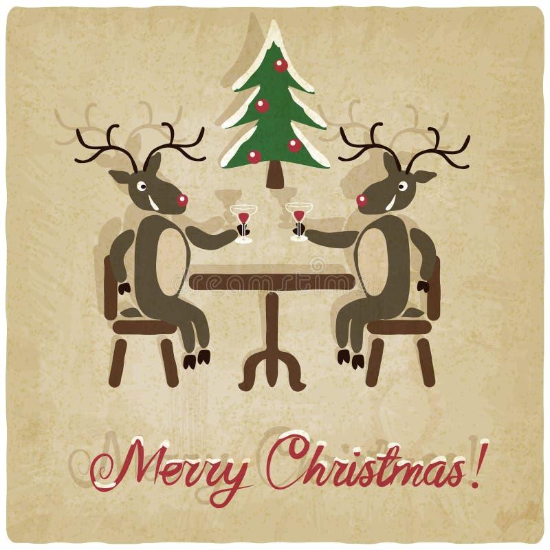 Fondo de la Navidad con los ciervos ilustración del vector