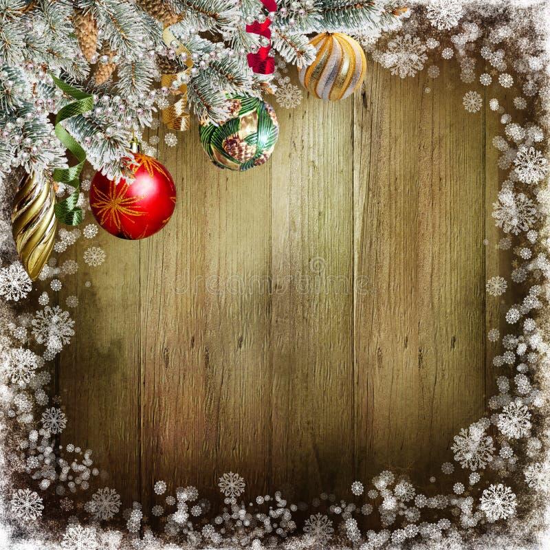 Fondo de la Navidad con los conos del pino, bolas stock de ilustración