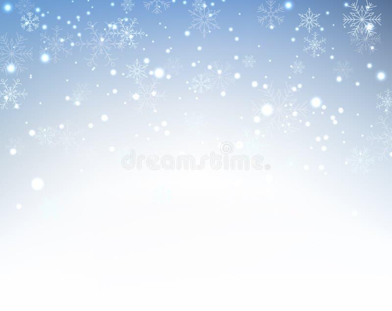 Fondo de la Navidad con los copos de nieve crystallic ilustración del vector