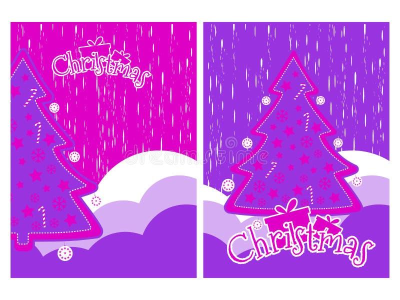 Fondo de la Navidad con los copos de nieve y el árbol de navidad Estilo del grunge de los elementos Vector stock de ilustración