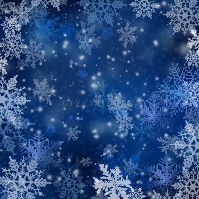Fondo de la Navidad con los copos de nieve ilustración del vector