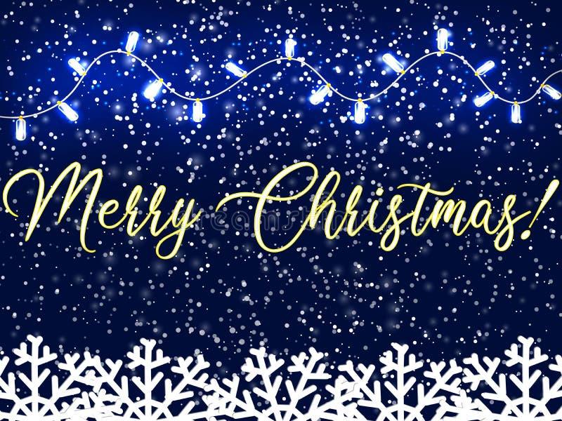 Fondo de la Navidad con los copos de nieve que caen, guirnaldas de las luces Fondo de la nieve Plantilla del diseño de la tarjeta ilustración del vector