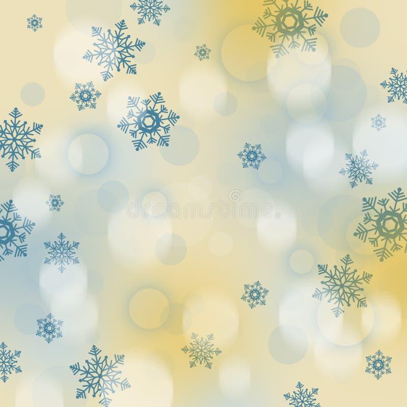 Fondo de la Navidad con los copos de nieve y las chucherías libre illustration