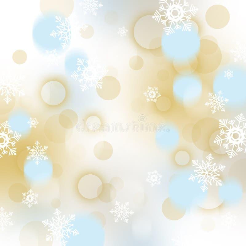 Fondo de la Navidad con los copos de nieve y las chucherías stock de ilustración