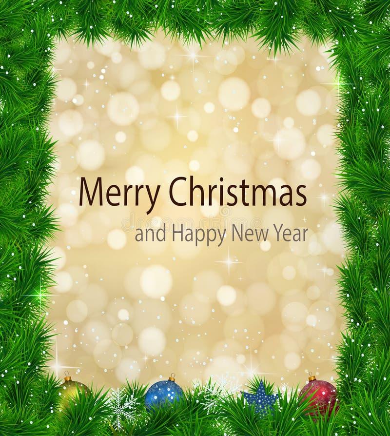 Fondo de la Navidad con los fuegos mágicos brillantes stock de ilustración