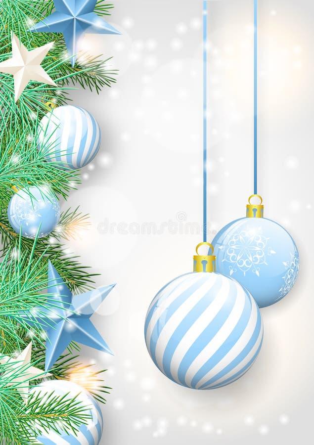 Fondo de la Navidad con los ornamentos y las ramas azules ilustración del vector