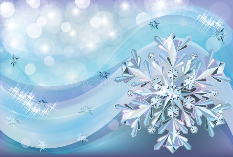 Fondo de la Navidad con nieve del diamante stock de ilustración