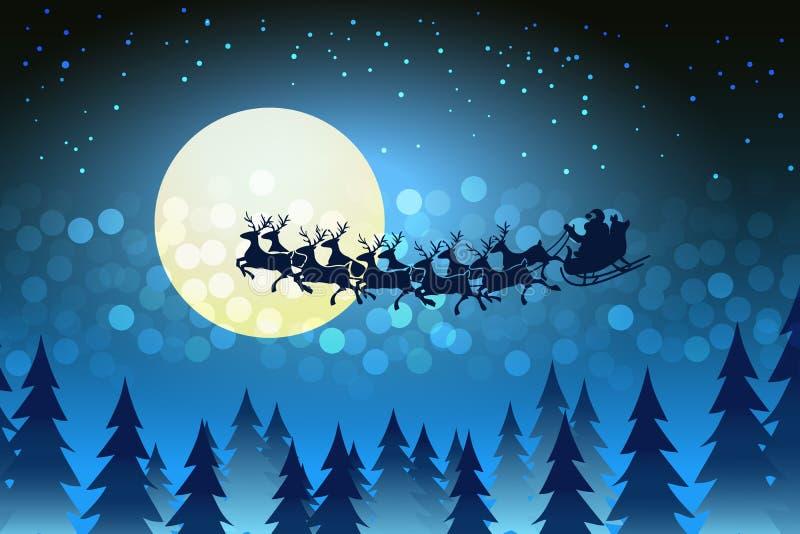 Fondo De Pantalla 3d De Navidad De Santa Vas De Luna Hd: Fondo De La Navidad Con Papá Noel Que Conduce Su Trineo