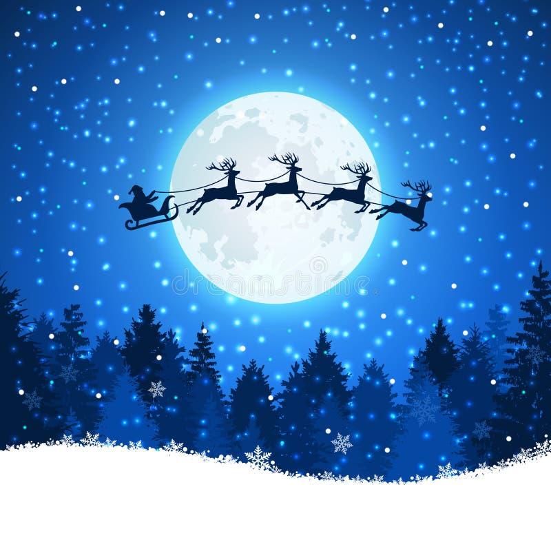 Fondo de la Navidad con Papá Noel y ciervos que vuelan en el cielo stock de ilustración