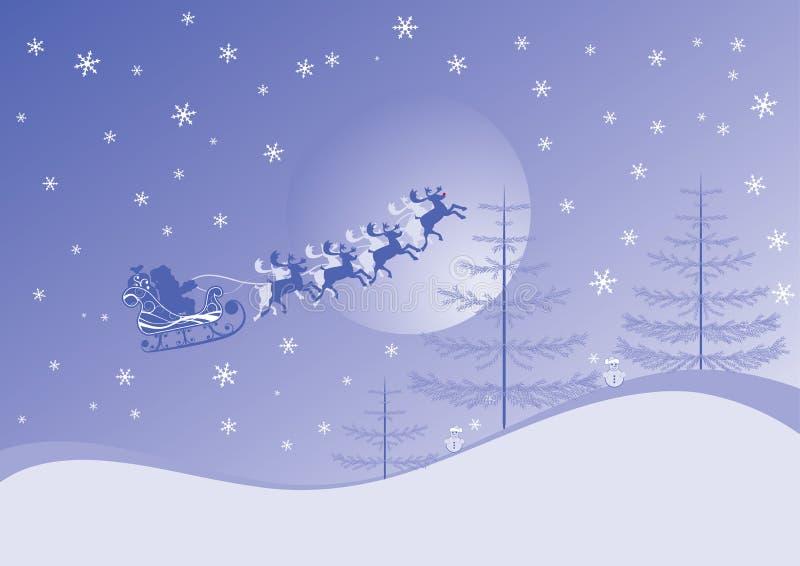 Fondo de la Navidad con santa y los deers, vector libre illustration