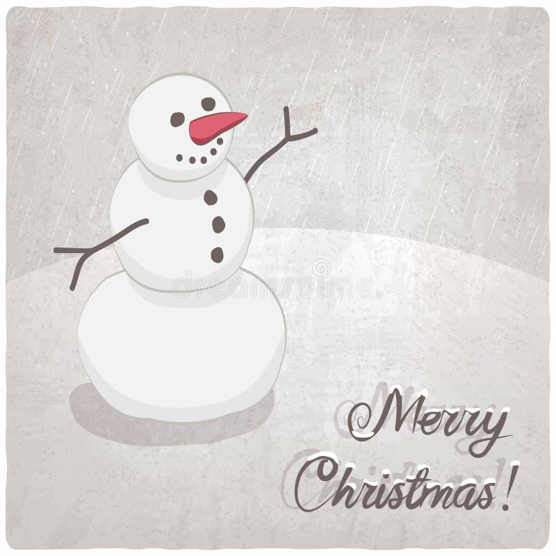 Fondo de la Navidad con un muñeco de nieve stock de ilustración