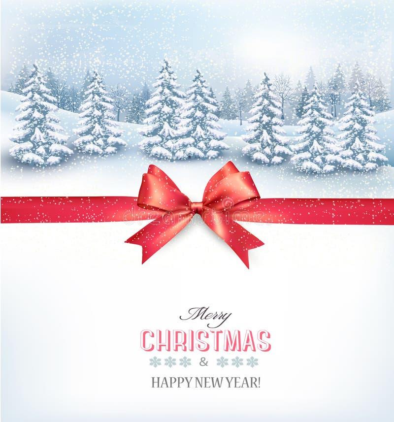Fondo de la Navidad con un paisaje nevoso y un arco rojo libre illustration