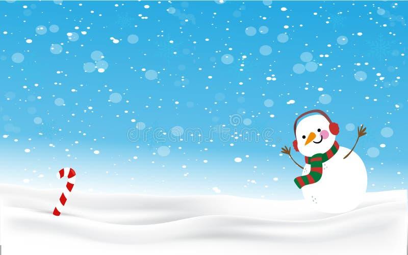 Fondo de la Navidad del hombre de la nieve ilustración del vector