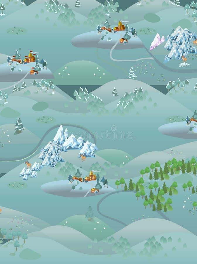 Fondo de la Navidad del invierno con un paisaje nevoso del pueblo Vector stock de ilustración