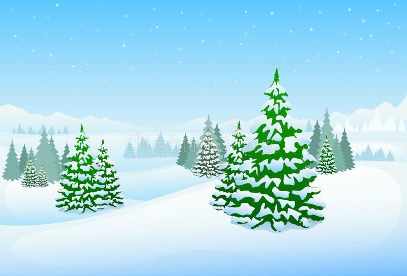 Fondo de la Navidad del paisaje del bosque del invierno, pino stock de ilustración