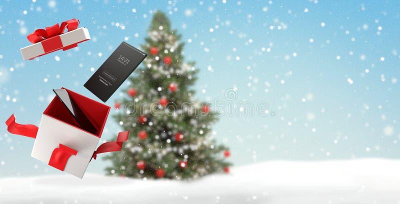 Fondo de la Navidad del teléfono móvil con la caja abierta 3d-illustration de la sorpresa ilustración del vector