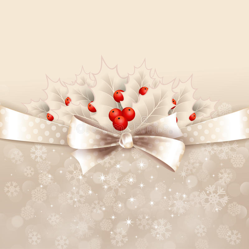 Fondo de la Navidad del vector con el arco y el acebo libre illustration