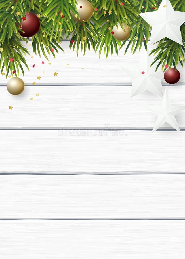 Fondo de la Navidad del vector con las ramas verdes del abeto, las estrellas del Libro Blanco y las bolas de los cristmas en un f stock de ilustración