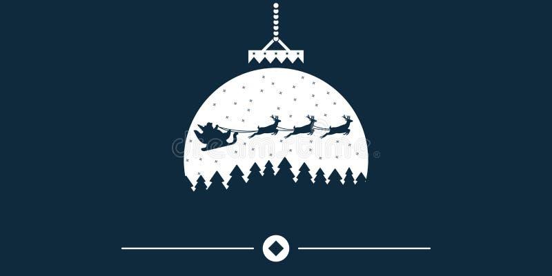 Fondo de la Navidad del vector con Papá Noel y ciervos que vuelan en el cielo Concepto de la Navidad perfecto para las tarjetas,  ilustración del vector