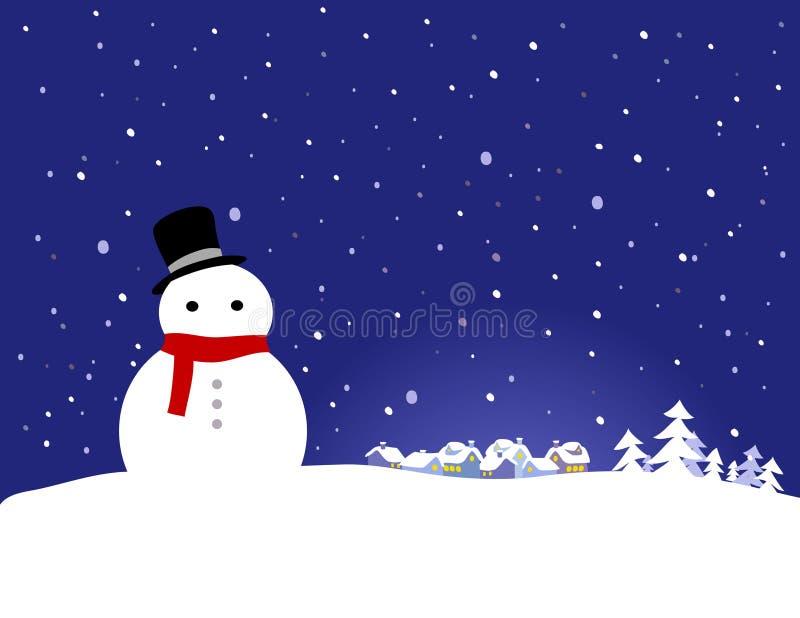 Fondo de la Navidad del vector - muñeco de nieve ilustración del vector