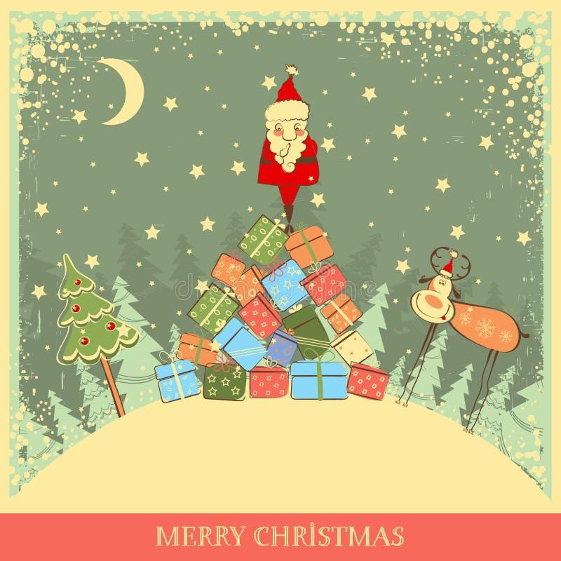 Fondo de la Navidad del vintage con Papá Noel en el coche viejo stock de ilustración