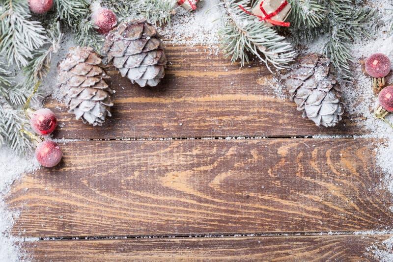 Fondo de la Navidad en de madera fotos de archivo libres de regalías