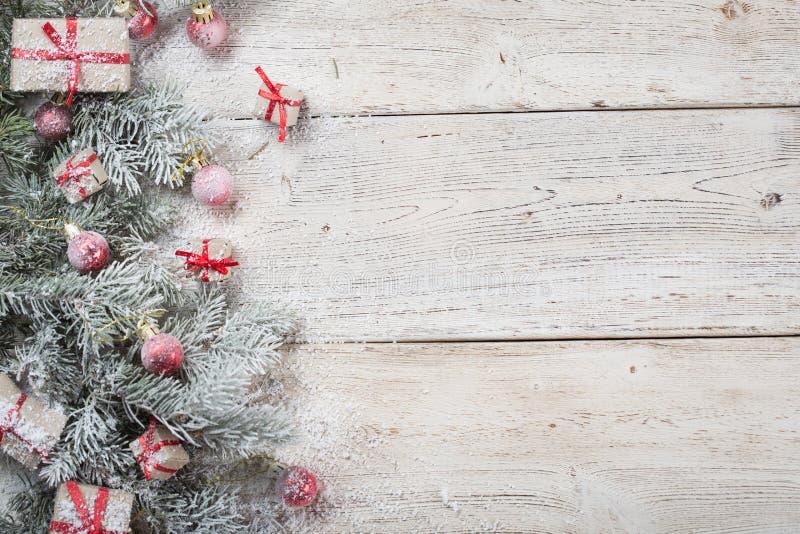 Fondo de la Navidad en de madera fotos de archivo