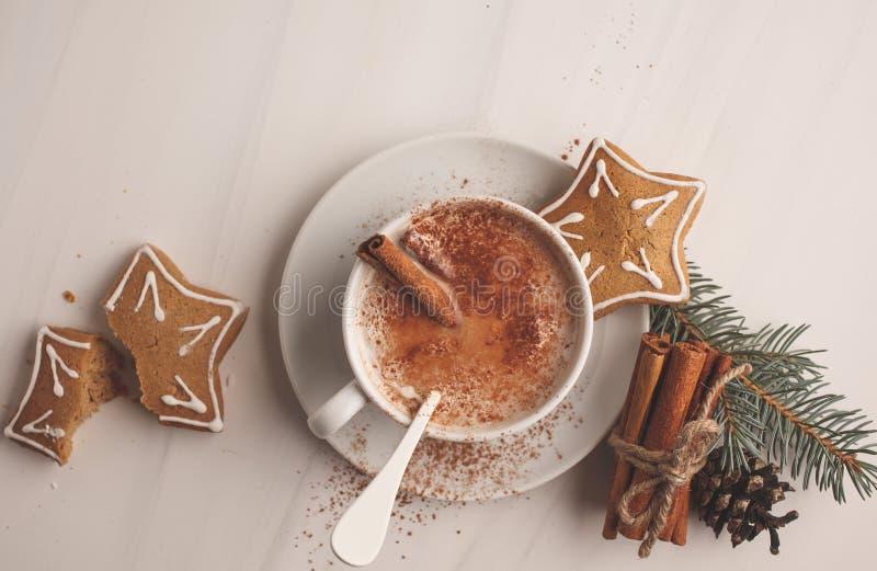 Fondo de la Navidad: galletas del cacao y del jengibre fotografía de archivo libre de regalías