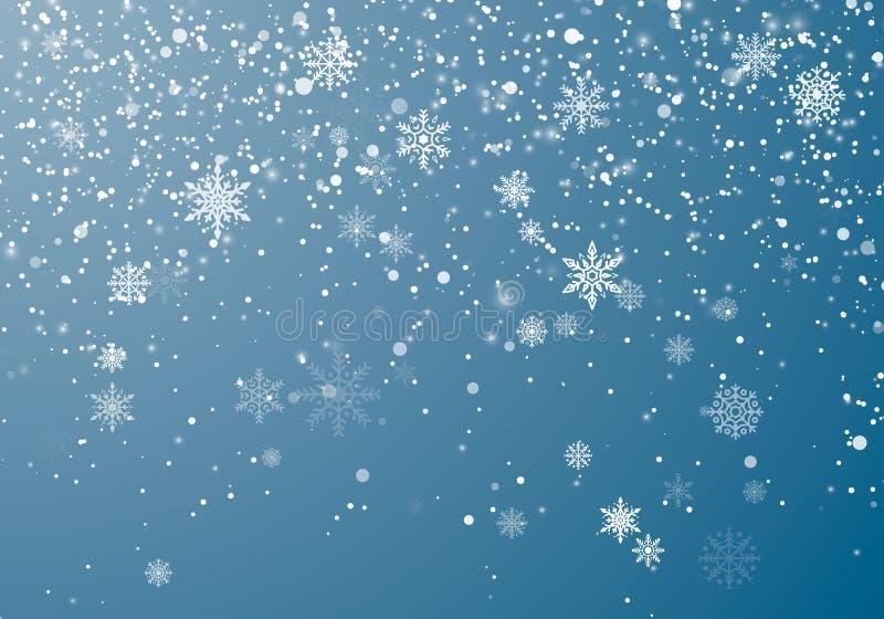 Fondo de la Navidad de las nevadas Escamas y estrellas de la nieve que vuelan en fondo del cielo del invierno El copo de nieve de ilustración del vector