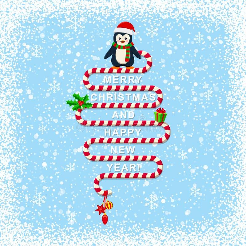 Fondo de la Navidad Nevado con el texto de la Feliz Navidad libre illustration
