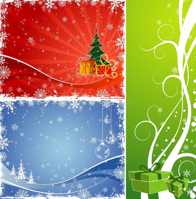 Fondo de la Navidad tres con el árbol y el regalo ilustración del vector