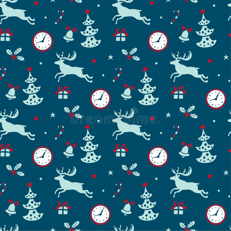 Fondo de la Navidad, vintage inconsútil de la textura del modelo del embaldosado stock de ilustración