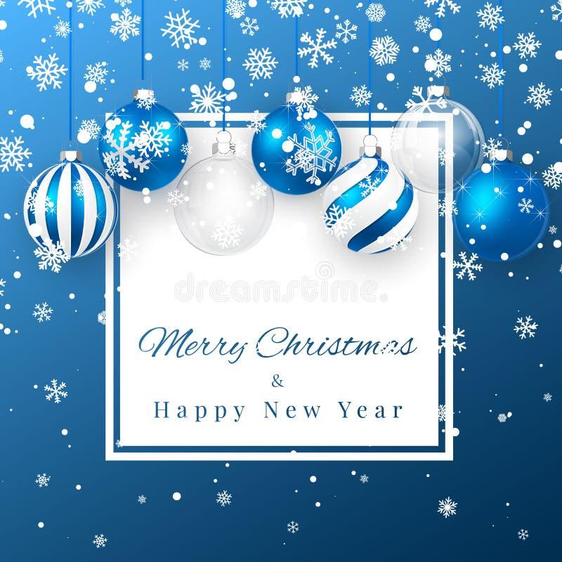 Fondo de la Navidad y del Año Nuevo con las bolas de la Navidad, la rama del abeto y la nieve azules para el diseño de Navidad Il stock de ilustración