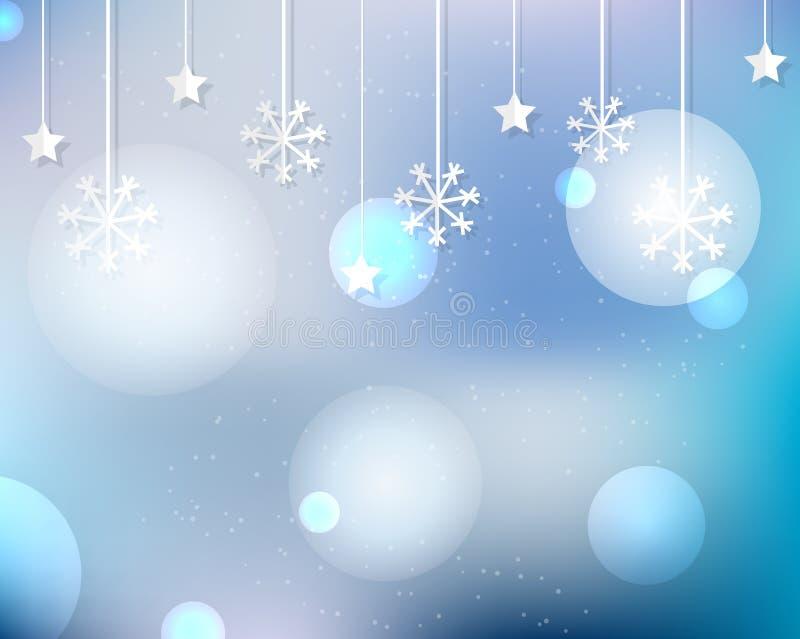 Fondo de la Navidad y del Año Nuevo con los copos de nieve, las luces y el efecto mágico del bokeh libre illustration