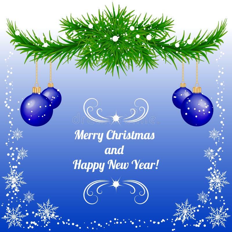 Fondo de la Navidad y del Año Nuevo en azul con las chucherías stock de ilustración