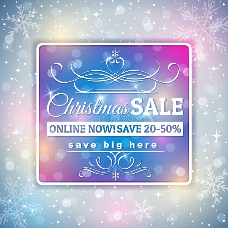 Fondo de la Navidad y etiqueta grises de la venta libre illustration