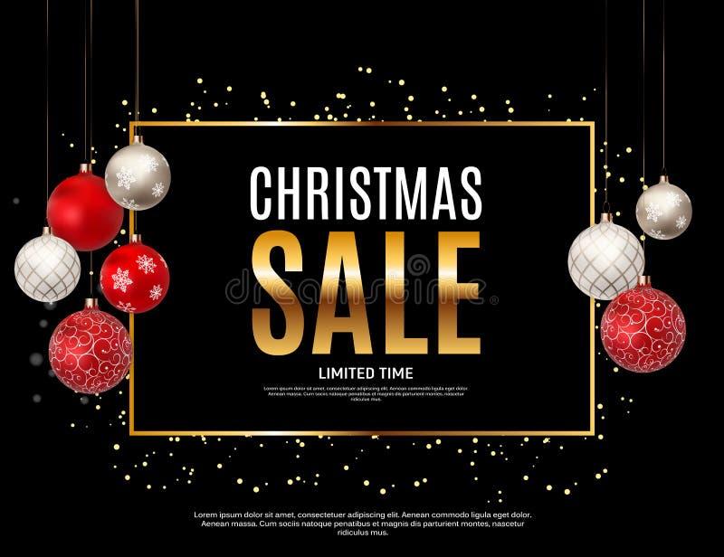 Fondo de la Navidad y de la venta del Año Nuevo, plantilla de la cupón del descuento Ilustración del vector ilustración del vector