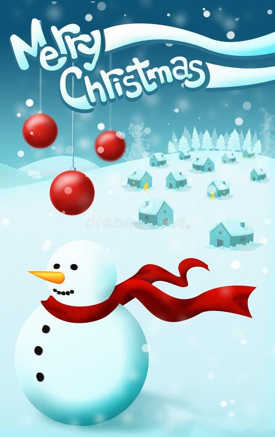 Fondo de la nieve de la Navidad stock de ilustración