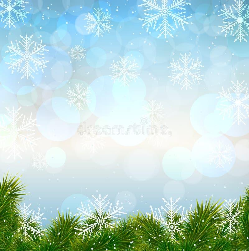 Fondo de la nieve de la Navidad con las ramitas del abeto. stock de ilustración