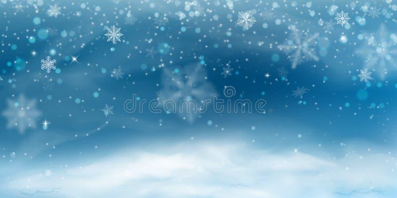 Fondo de la nieve El paisaje de la Navidad del invierno, ventisca, empañó los copos de nieve stock de ilustración