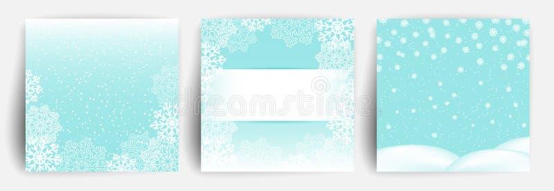 Fondo de la nieve Fije de la plantilla del diseño de la tarjeta de felicitación de la Navidad para el aviador, bandera, invitació stock de ilustración