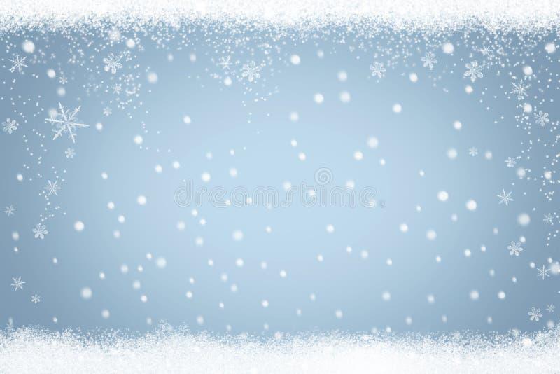 Fondo de la nieve de las vacaciones de invierno con el marco de copos de nieve y de estrellas libre illustration