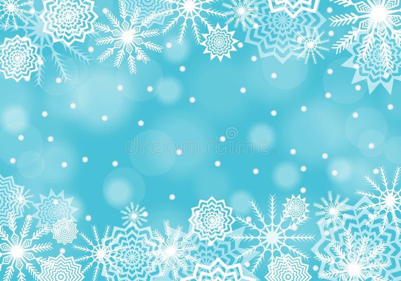 Fondo de la nieve de la turquesa que cae con las llamaradas y las chispas Extracto de los copos de nieve stock de ilustración