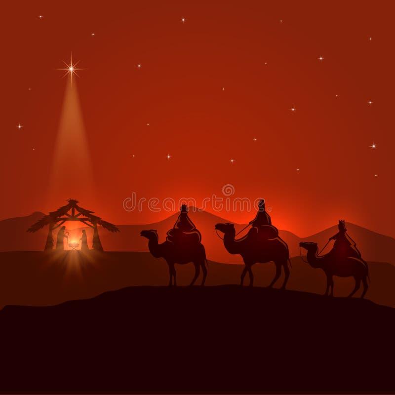 Fondo de la noche con la escena de Christian Christmas stock de ilustración