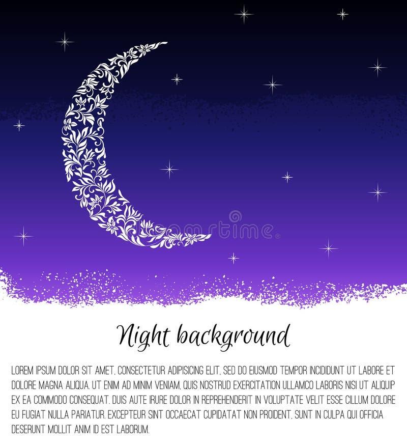 Fondo de la noche con la luna y las estrellas Mes hecho del tracery floral libre illustration